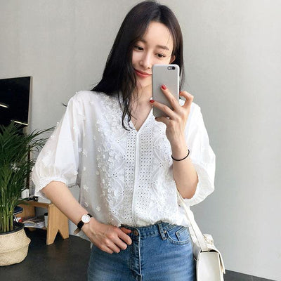 Embroidery white blouse women