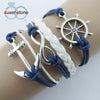 New Infinite Bracelet Anchor Blue Leather Rope Bangle