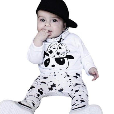 Baby Boys Girls Cute Cotton Long Sleeved Panda Pants Set