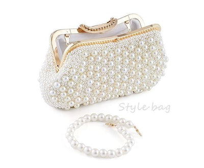 Women Beaded Pearl Design Clutch