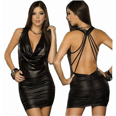 Hot Backless Latex Dress for Women