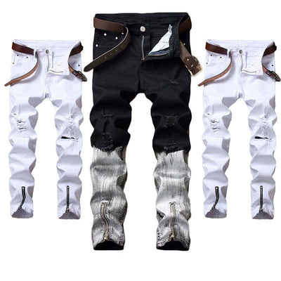 Distressed Ripped Skinny Frayed Jeans for Men