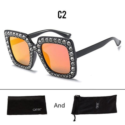 Luxury Diamond Crystal Square Sunglasses  for Women