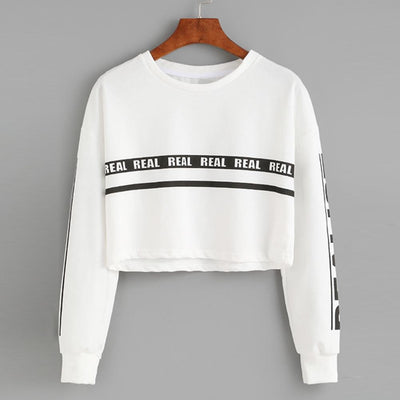 Real Short Top Pullover Crop Sweatshirt for Women