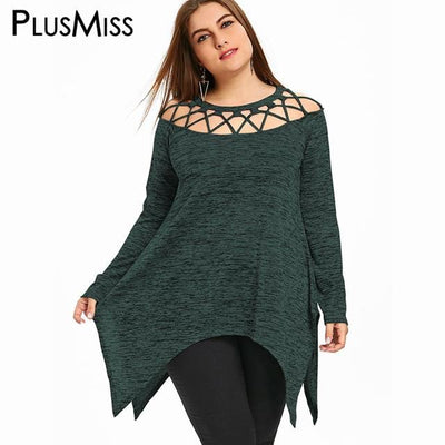 Lace Up Off the Shoulder Tunic Top for Women
