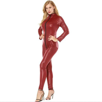 Sexy Faux Leather Bodysuit for Women