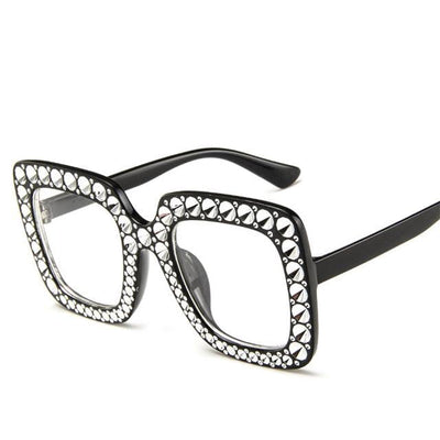 Classic Square Rhinestone Sunglasses for Women