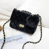 New small velvet quilted chain shoulder bag