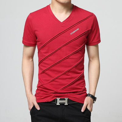 Men Short Sleeve V-neck T-shirt
