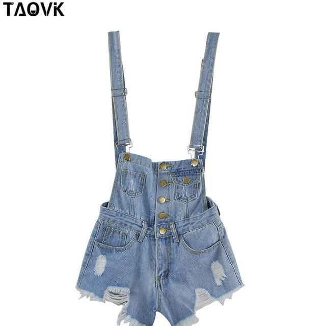 Women Ripped Suspenders jeans shorts