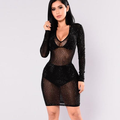 Sexy Black Mesh See-through Spring Mini Dress for Women