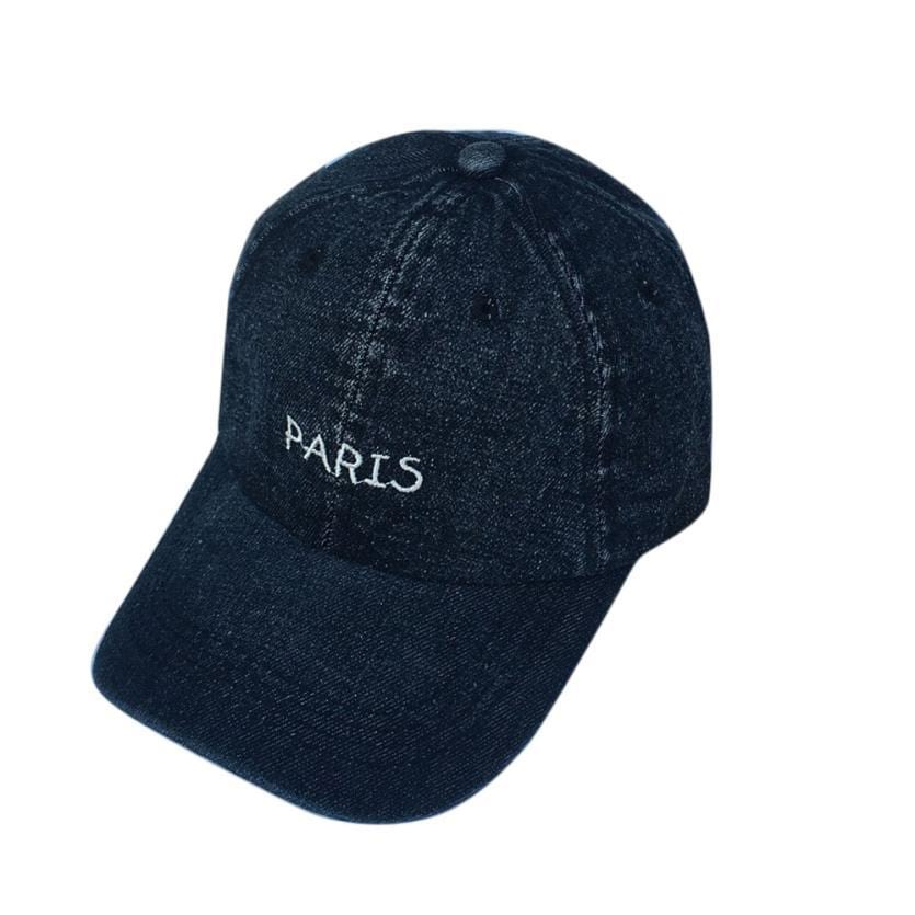 Paris Embroidered Denim Baseball Cap