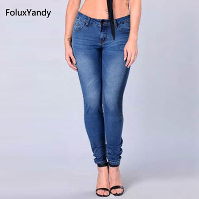 Blue Jeans Women Casual Slim Stretched Jeans