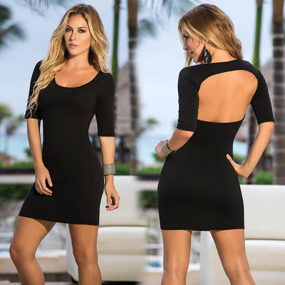 Sexy Backless Mini Black Dress for Women
