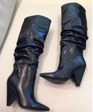 New Sexy Luxury Crystal Pointy Toe Knee High Boots for Women