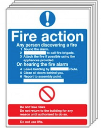 6 Pack of Fire Action Notice Signs SSW0019