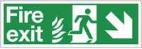 Dual-Symbol Fire Exit Sign with Right-Down Diagonal Arrow for NHS Buildings