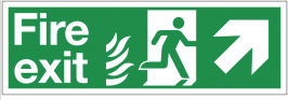 Dual-Symbol Fire Exit Sign with Right-Up Diagonal Arrow for NHS Buildings SSW0291