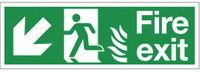 Dual-Symbol Fire Exit Sign with Left-Down Diagonal Arrow for NHS Buildings
