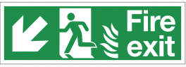 Dual-Symbol Fire Exit Sign with Left-Down Diagonal Arrow for NHS Buildings SSW0289