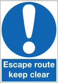 Escape Route Keep Clear Signs SSW0293