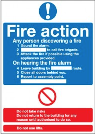 Fire Action Notice Instruction Signs SSW0338