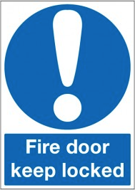 Fire Safety keep door locked sign SSW0306