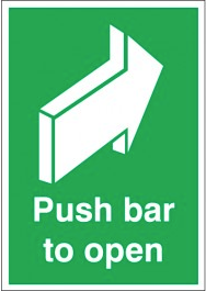 Essential 'push bar to open' fire door signs SSW0307