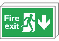 Fire Exit (Arrow Down) 6 Pack Signs