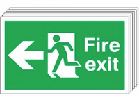 Fire Exit (Arrow Left) 6 Pack Signs