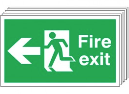 Fire Exit (Arrow Left) 6 Pack Signs SSW0329
