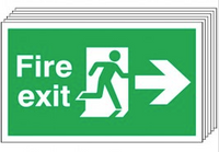 Fire Exit (Arrow Right) 6 Pack Signs