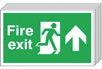 Fire Exit (Arrow Up) 6 Pack Signs