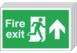 Fire Exit (Arrow Up) 6 Pack Signs SSW0327