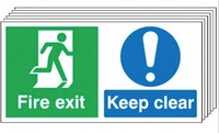 Fire Exit Keep Clear Signs - 6 Pack