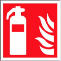 Fire Safety Sign With Fire Extinguisher And Flame Symbols SSW0287