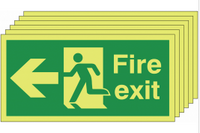 Glow In The Dark Fire Exit Signs (Left-Facing)