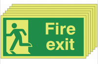 Six pack Glow in the dark Fire Exit Signs with man running left