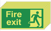 Six pack Glow in the dark Fire Exit Signs with man running right