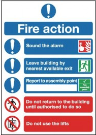 Instructional Fire Action Signs with Symbols SSW0337
