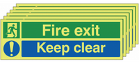 Glow in the dark  Fire Exit Keep Clear Signs, Pack of Six
