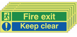 Glow in the dark  Fire Exit Keep Clear Signs, Pack of Six SSW0334