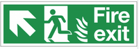 Dual-Symbol Fire Exit Sign with Left-Up Diagonal Arrow for NHS Buildings