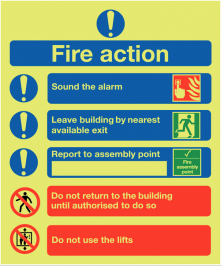Glow in the Dark Photoluminescent Instructional Fire Action Sign SSW0336