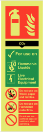 Co2 Fire Extinguisher Sign -  Glow-in-the-Dark SSW0282
