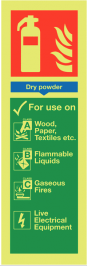 Dry Powder Fire Extinguisher Sign Glow-in-the-dark SSW0279