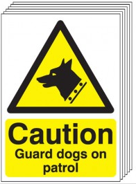 Caution Guard Dogs On Patrol Signs - 6 Pack SSW0050