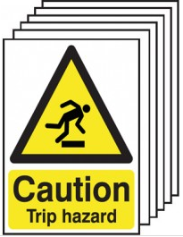 Caution trip hazard warning signs 6 pack SSW0053