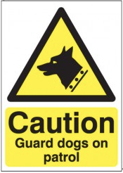 Caution Guard Dogs On Patrol Signs SSW0049
