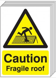 Caution Fragile Roof Signs - 6 Pack SSW0048